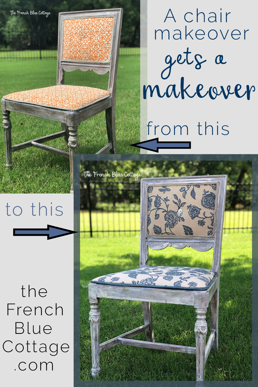chair makeover from orange to blue and neutral