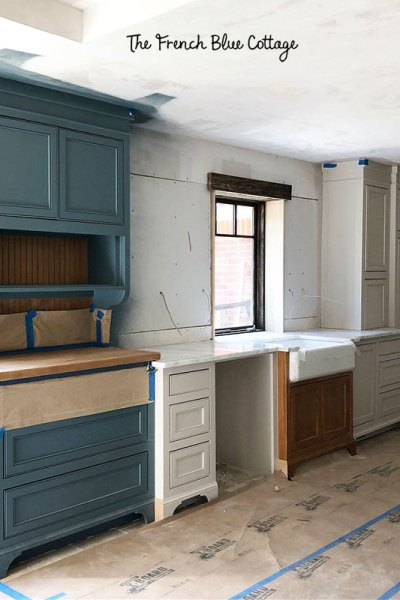 kitchen remodel blue and white painted cabinets