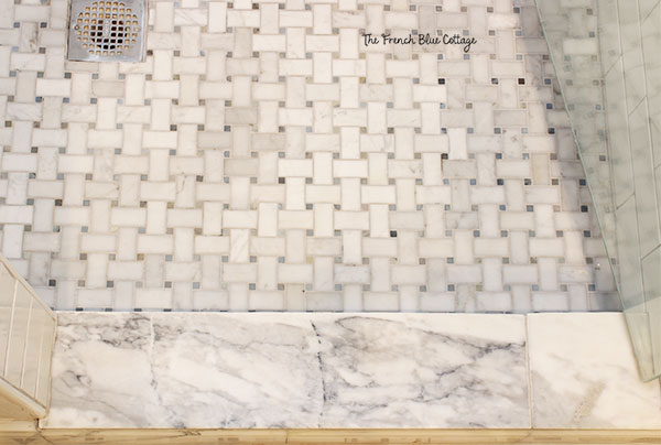 marble basketweave shower floor