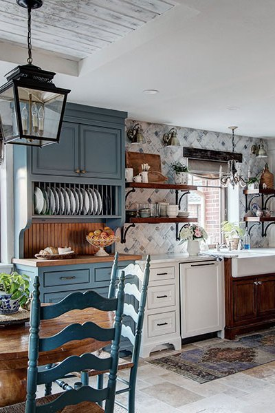 open shelves in a french country inspired kitchen