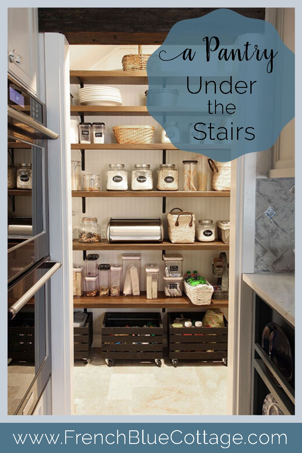 pantry with open shelves built under the stairs