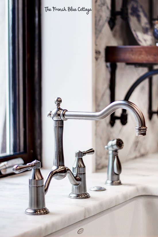 bridge faucet in french country kitchen remodel