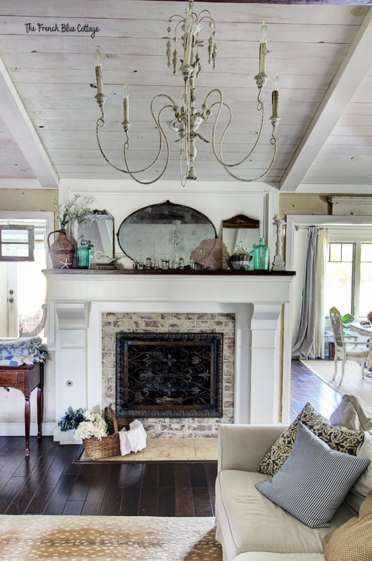coastal inspired mantel in French Country home
