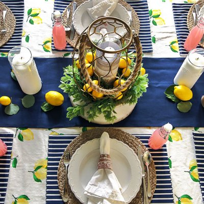 Sunny Lemon Tablescape and DIY Paper-Wrapped Vases