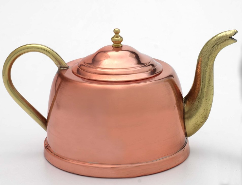 1.5l Copper Tea Pot With Brass Spout And Handle Cu031