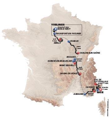 Paris Nice Cycle Race route 2017