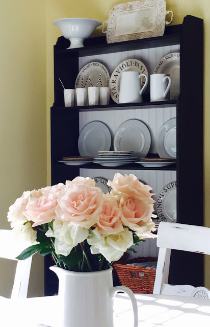 IKEA shelving hack black and white dishes