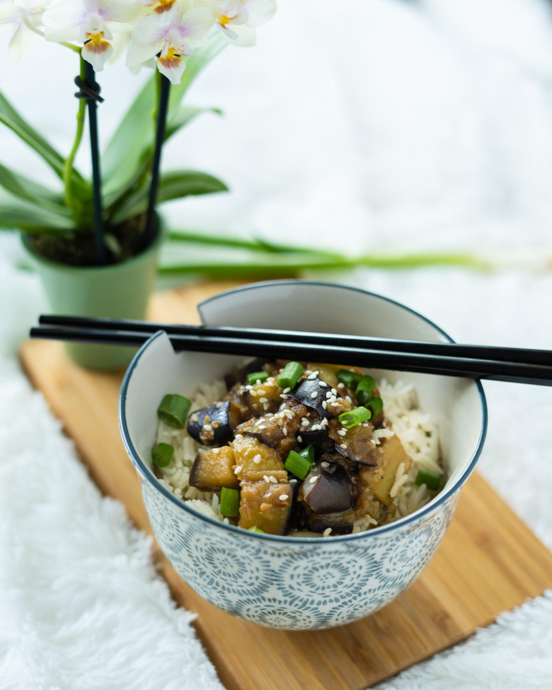 Sesame eggplant sweet miso glaze