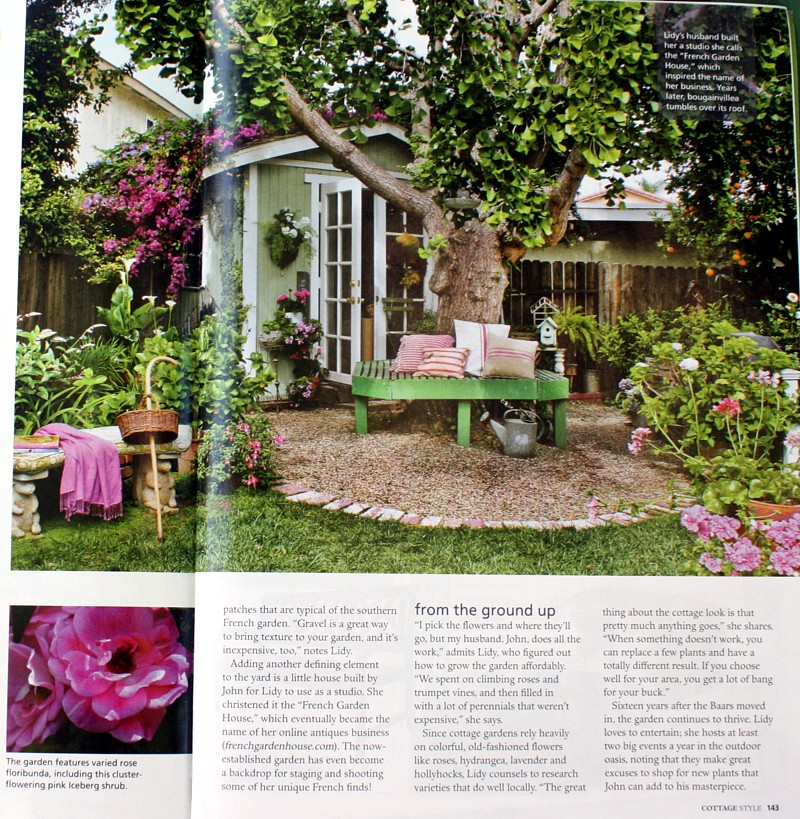 Cottage style magazine garden feature for French country cottage magazine