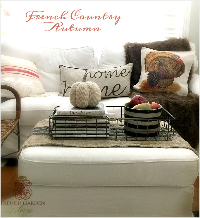 Decorating for fall with seasonal pillows for French country house blog