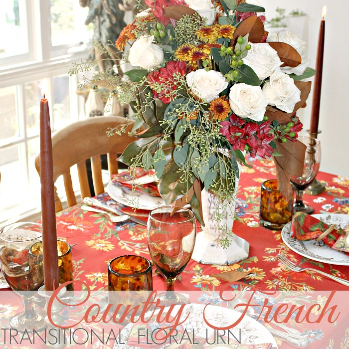 TRANSITIONAL COUNTRY FRENCH FLORAL URN