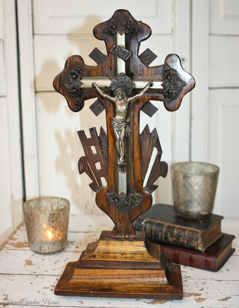 19th Century French Napoleon III Hand Carved Wood Cross