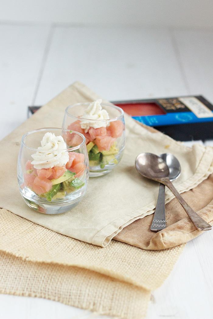 Avocado and smoked salmon verrines
