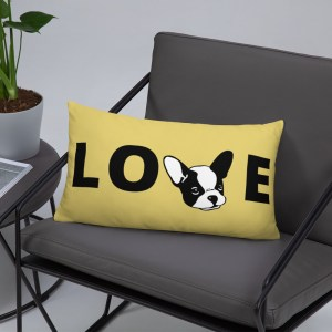Frenchie Love Pillow- Yellow