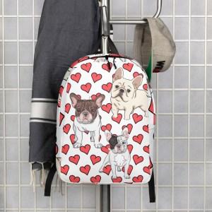French Bulldog Heart Backpack