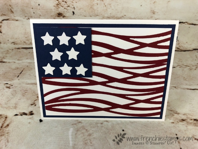 Swirly Scribbles Thinlts, Red White and Blue, Flag with die cut, Stampin'Up!