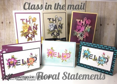 Floral Statements, Stamping Class in the mail, Free Shipping Stampin'Up!, Frenchiestamps,