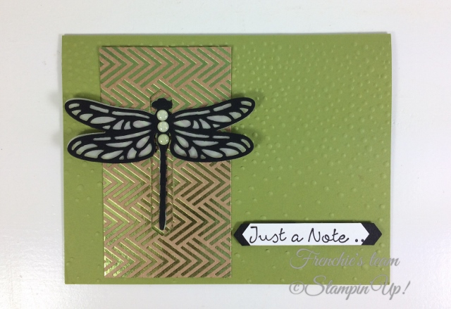 Frenchie' Team, Detailed Dragonfly Thinlits, Stampin'Up!, Foil Frenzy Designer paper,