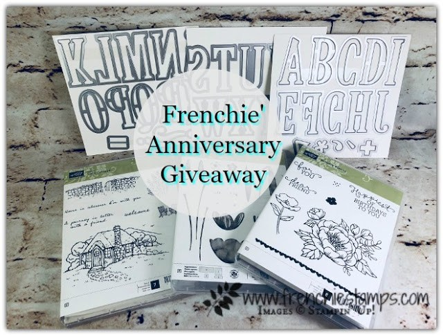 Happy 16th Anniversary to Frenchie Giveaway Large Letter Dies, 3 Stamp Sets
