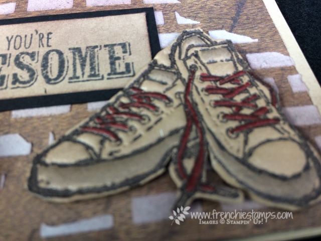 Epic Celebration, Stampin'Up! Sale a Bration Free stamp, Faux Leather Shose technique, Frenchiestamps,
