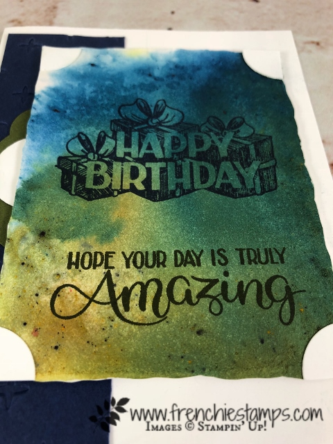 Brusho Clear Block technique, Stampin'Up!, Big Wishes, Frenchie Stamps,