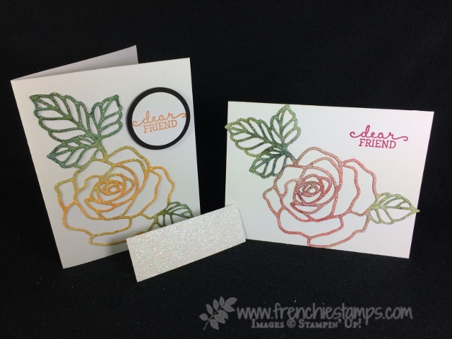 Dazzling Diamond Glimmer Paper, Brusho Glimmer paper, Roses Garden Thinlits, Stampin'Up!, Frenchie Stamps,