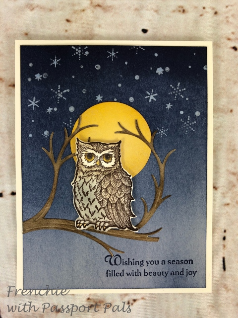 Frenchie team Customer Appreciation. This lovely card using Still Night is part of this customer appreciation.  Full moon for this Owl card. All product or from Stampin'Up! and can be purchase at frenchiestamps.com