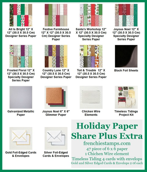 Holiday 2018 Designer plus share, Stampin'Up!, Designer Paper Holiday, Frenchie Stamps,