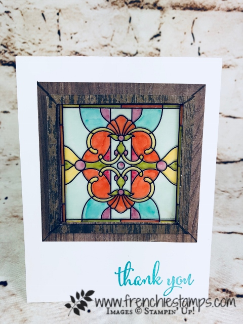 How to make a stain glass window with vellum. Using Graceful Glass Designer Vellum and stampin'Blends all product from Stampin'Up! that you can purchase at frenchiestamps.