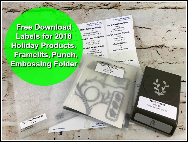 Free download for all the Stampin'Up! Framelits, Punch and embossing folder. Easy way to organize with labels. this is provide to you by France at frenchiestamps.com