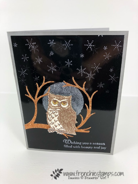 How to make a full moon with Shimmer Paint. Stamp set Still Night and Night Owl Thinlits. All product by Stampin'Up! and can be purchase at frenchiestamps.com