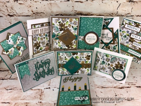 How to make 10 birthdaycards with one sheet of 12 x 12 this is call One Sheet Wonder. This is the Forsted Floral specialty designer paper by Stampin'Up!. All product can be purchase at frenchiestamps.com
