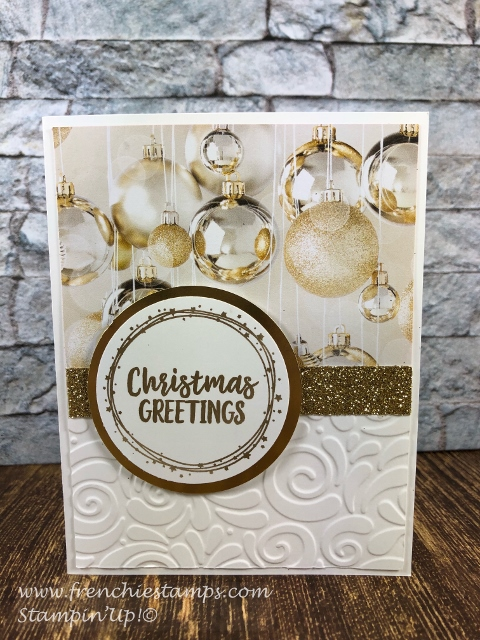 All is Bright designer paper. 12 card with one sheet of 12 x 12. Very Elegant and quick. All product by Stampin'Up! and can be purchase at frenchiestamps.com