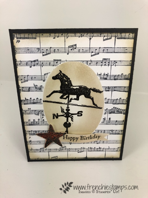 How to make a faux illusion. One layer that look like 2 layer of card stock. How to video with Frenchie. Stamp set Country Road and Sheet Music. All product by Stampin'Up! available at frenchiestamps.com
