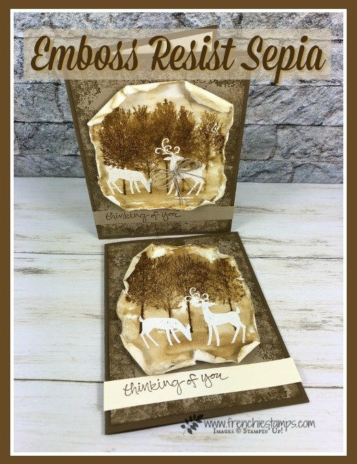 How to Emboss Resist in Sepia Color