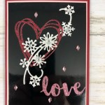 Using the Snowfall Thinlits with eh Sunshine Wishes Thinlits a perfect combination for Valentines card or Winter Wedding. All product by Stampin