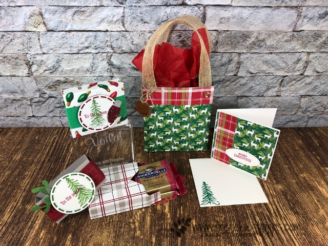 Ghirardelli Box, No Fuss Bag and 3 x 3 card. Live on Facebook and You Tube with Frenchie. All product by Stampin'Up!.