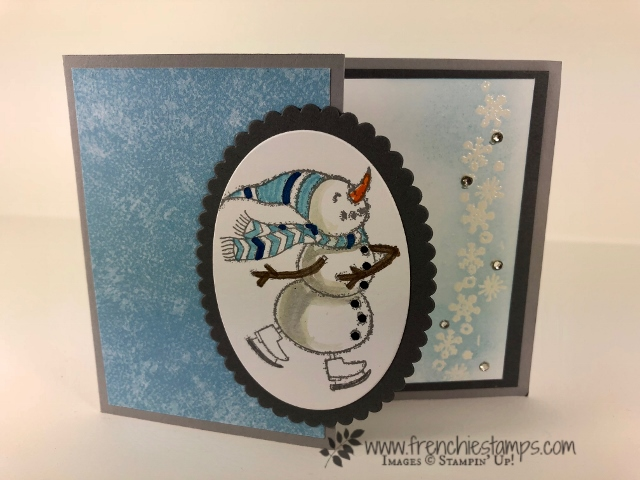 Christmas Swap with the leader group. All cards showcase products from Stampin'Up! Holiday 2018 catalog. All can be purchase at frenchiestamps.com Spirited Snowmen