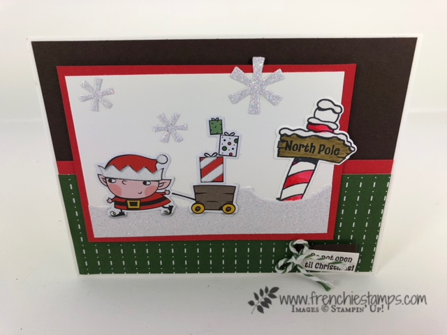 Christmas Swap with the leader group. All cards showcase products from Stampin'Up! Holiday 2018 catalog. All can be purchase at frenchiestamps.com Signs of Santa