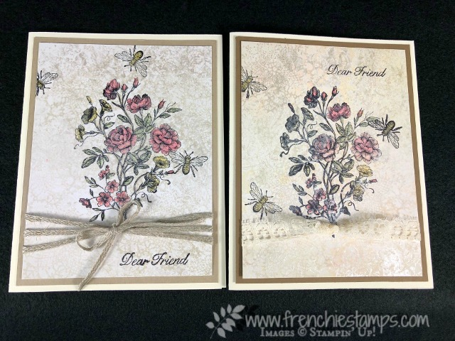 Technique Vintage Mother of Pearl. Using Glossy paper and Shimmer paint. All detail on my blog with video. Product by Stampin'Up! available at frenchiestamps.com