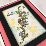 Bokeh frame with Beauty Abounds. This is the perfect set for a quick Bokeh effect. Frame using the Stitched rectangle fraamelits. All products by Stampin