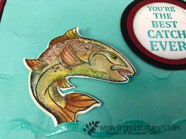 How to watercolor the fish in Best Catch. Look like a trout. All product by Stampin'Up! available at frenchiestamps.com