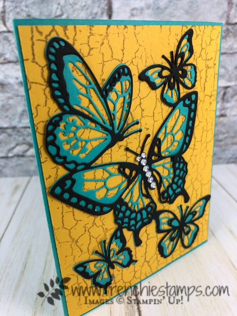 Tip for the Butterfly Beauty Thinlits. Stamp set Crackle Paint.  How to separate them and more. The adhesive sheet is a greet product to adhere the layers. All supplies by Stampin'Up! available at frenchiestamps.com