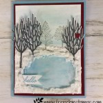Ice rink and winter scenery. Winter Woods and Lovely as a Tree. All products are from Stampin