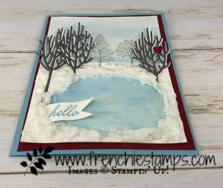 Ice rink and winter scenery. Winter Woods and Lovely as a Tree. All products are from Stampin'Up! available at frenchiestamps.com