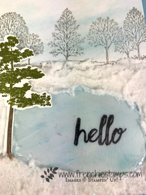 Ice rink and winter scenery. Rooted in Nature and Lovely as a Tree. All products are from Stampin'Up! available at frenchiestamps.com