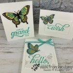 Butterfly Beauty with a layer of Vellum, color with blends. Greeting is the stamp set Life is Grand. Rectangle Stitched Framelits, All product by Stampin