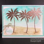 How to make a quick watercolor back groung on a emboss image. Emboss Resit with watercolor. Stamp set Beach Happy by Stampin