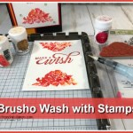 How to use the Stamparatus and Brusho for a fun Stamp wash on watercolor paper. Stamp Set Floral Phrases. All product by Stampin