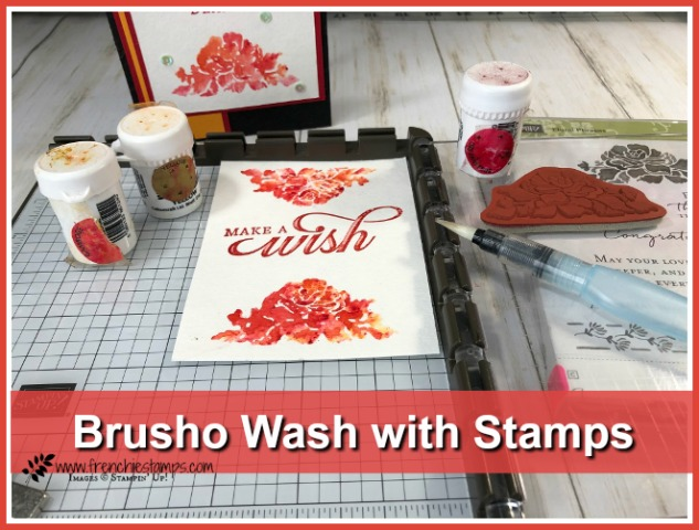 How to use the Stamparatus and Brusho for a fun Stamp wash on watercolor paper. Stamp Set Floral Phrases. All product by Stampin'Up! available at frenchiestamps.com